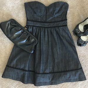 Dark Grey Denim Strapless Dress