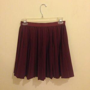 Maroon Pleated Mini Skirt