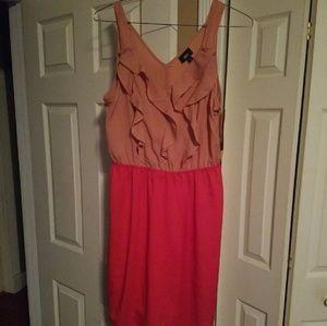 Two tone ruffle dress