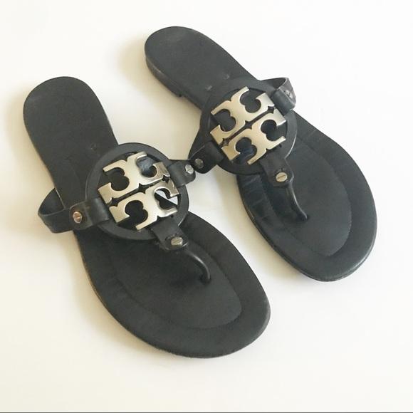 5ce95f89d1e Tory Burch Miller black Sandals with metal logo. M 59c857912599feb70404b36f