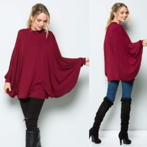DYLAN Poncho Style Tunic Top - WINE