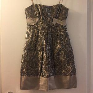 BCBGMaxAzria Gold Brocade Strapless Dress Size 0