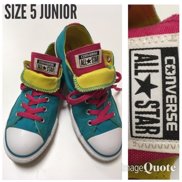 a92991315b09 Converse Shoes - Converse Double Tongue Teal Pink Size 5 Junior Low
