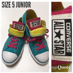 Converse Double Tongue Teal Pink Size 5 Junior Low