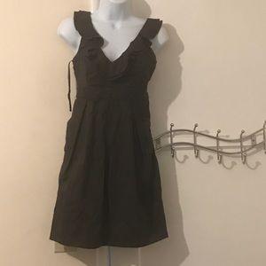 Anthropologie brown ruffled dress