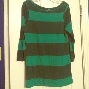 Green stripped long sleeve top