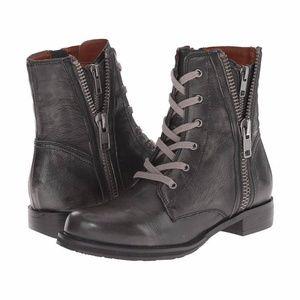 Mia Heritage Fatina Gray Moto Combat Lace up Boots