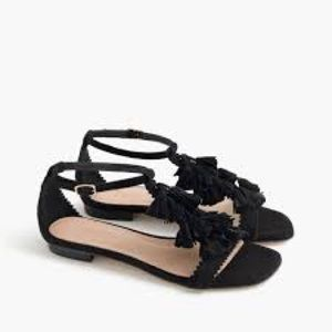 J. Crew Suede Black Tassel Sandals