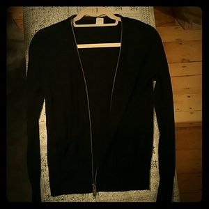 J. CREW merino wool black cardigan, zip closure