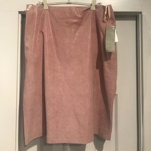 NWT pink leather skirt H&M sz 14