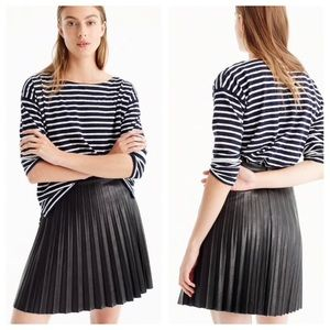 J. Crew Faux Leather Pleated Mini Black Skirt