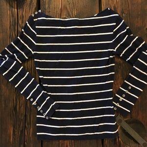 ⚓️ Navy Blue Striped Long Sleeve Top ⚓️