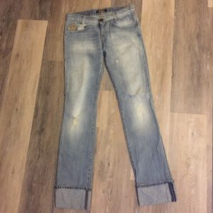Killah Rolled Cuff Straight Leg Boyfriend Jeans