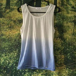 White Blue Ombre Scoop Neck T Shirt || XS