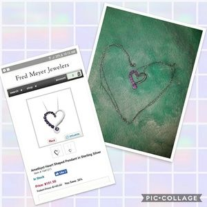 Amethyst heart shaped pendant necklace