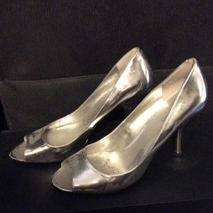 NINE WEST Silver Peep Toe Heels - Size 10M