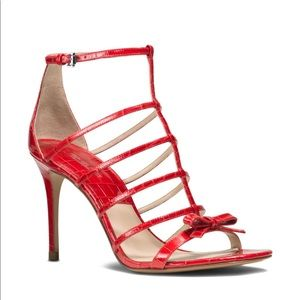 Michael Kors Blythe Caged croc 👠w 🎀 size 9 red
