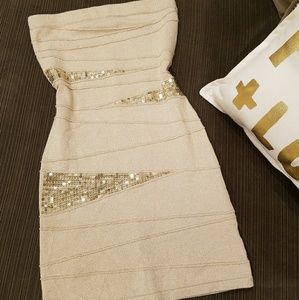 Gold Sequin Mini Dress STRETCHY Small
