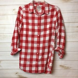 Red white winter lodge checkered plaid Button up