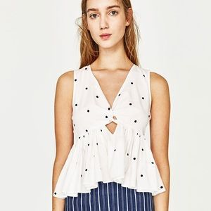 Zara polka dot ruffle crop top