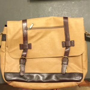 PT men's briefcase. Canvas and leather.