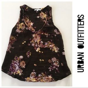 Urban Outfitters Floral Gauze Racerback Tank S