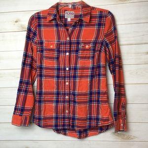 Red orange blue plaid flannel Button Front shirt