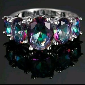 Colorful 5 Stone Ring Sterling Silver