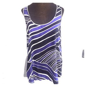 Fit and flare striped sleeveless blouse