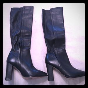 Loeffler Randall black leather knee high boots