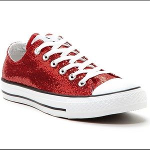 Glittery/ Sparkly Red Converse