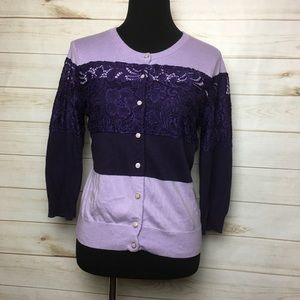 Purple Lace Button Front cardigan sweater