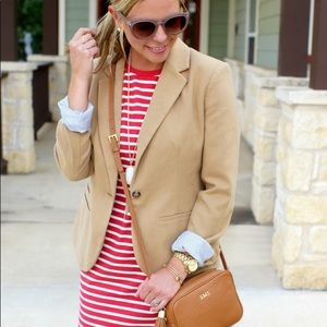 Merona Blazer in Camel w/ Hot Pink Collar