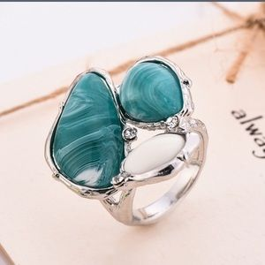 925 Sterling Silver chunky turquoise ring😍❤️