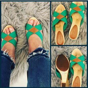 Mia Green & Brown with Wood Heel Sandals