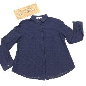 Loft navy blue lace blouse
