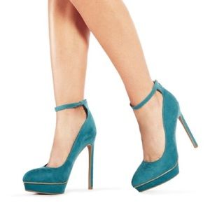 JustFab 'Emily' dark teal platform heels. Like new