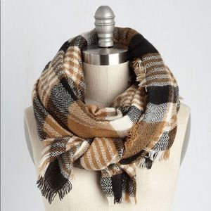 ModCloth Loch and Key Scarf in Taupe Plaid
