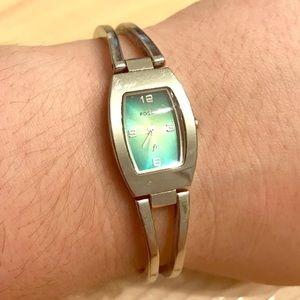 Fossil Stainless Steel Green Face Watch