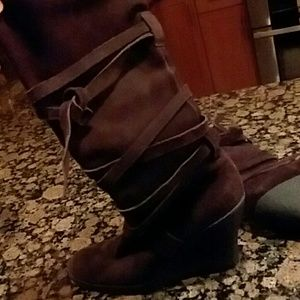 Suede tall wedge boots