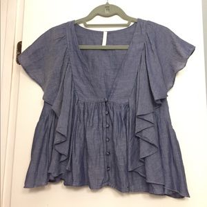 Zara chambray ruffle top