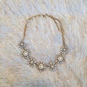 J. Crew Rhinestone Flower Necklace NWOT