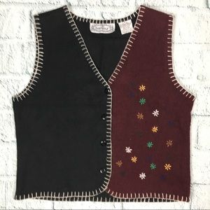 Vintage Embroidered Wool Blend Vest