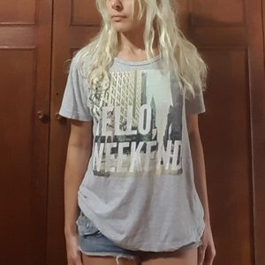 H&M Hello Weekend Heather Gray Graphic Tee M