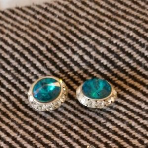Jewelry - Turquoise and diamond circle earrings