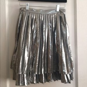 Shiny Silver Pleated Modcloth Skirt