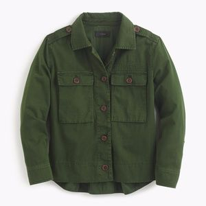 nwt j.crew GREEN garment-dyed safari shirt jacket