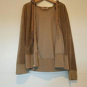 Juicy Couture velour hoodie, sz Medium, Tan