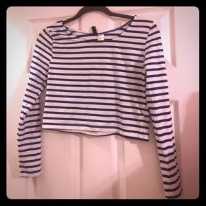 H&M Striped White and Blue Crop Top