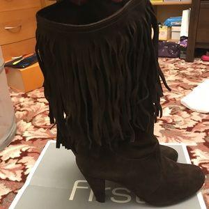 Suede dark brown fringe heel boots
